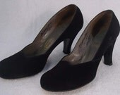 1940s Black Suede Shoes - WWII - Pin Up - Sexy Secretary - USO - Shoes
