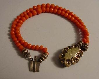 Antique Victorian Blood Coral Bracelet