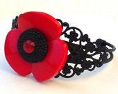 Vintage Button Black Cuff Bracelet Red Poppy Jewelry