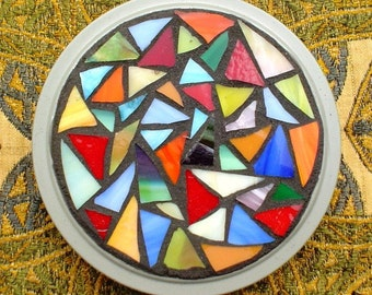 Mosaic Vintage Film Reel Canister  Stained Glass Box Tin