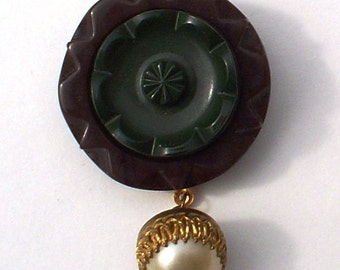 Vintage Button Pin/Pendant: Brown Green Flower with Pearl Dangle Vintage Button Jewelry