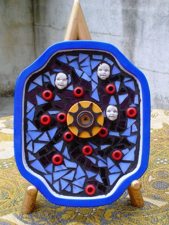 SALE: Mixed Media Stained Glass Mosaic Art Steampunk Evil Babies with Detachable Pin Vintage Repurposed Button Jewelry