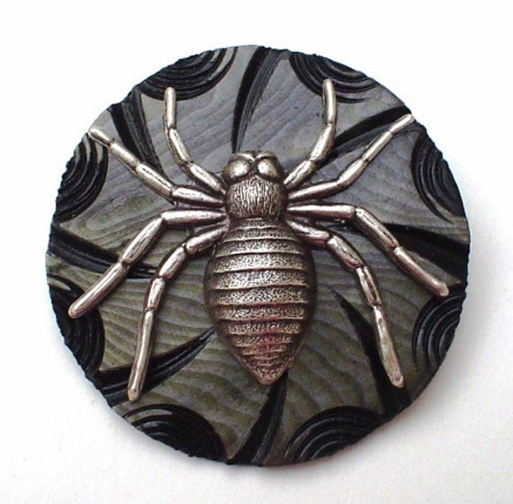 Vintage Spider Web Button Pin Vintage Button Jewelry