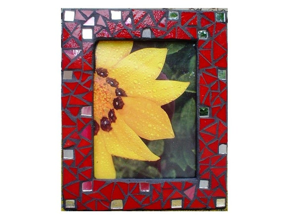 Mosaic Picture Frame:  Red Stained Glass and Mirror Accents Valentine Day Gift