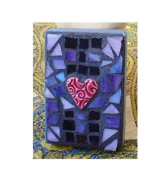 ACEO Mosaic: I Heart U Stained Glass Valentine's Day Love Mixed Media Mosaic Alternative Card Shelf Sitter