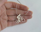 Bicycle Necklace Pendant - Bike Rider Pendant - Sterling Silver - Sport Jewelry - Bicycle jewelry