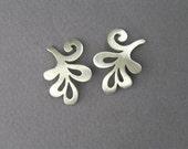 Silver Branch Earrings- Swirling Earrings - Leaf Earrings - Sterling Silver
