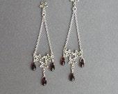 Silver Chandelier Earrings - Garnet Drops - Long Dangle Earrings  - Sterling Silver Flowers Earrings