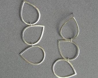 Silver Dangle Earrings - Drops Earrings - Long Sterling Silver Earrings