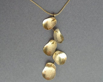 Gold Necklace - Leaves Cluster Pendant - 14k Gold