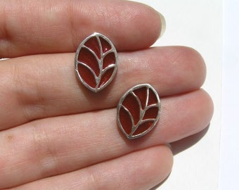 Red Leaf Stud Earrings - Sterling Silver and Resin