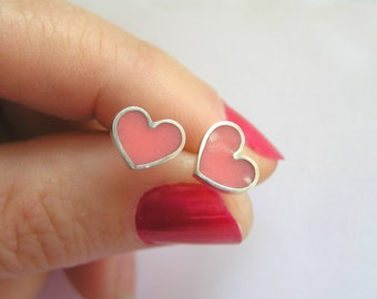 Pink Heart Stud Earrings - Sterling Silver and Crystal Enamel - Valentine Day Gift