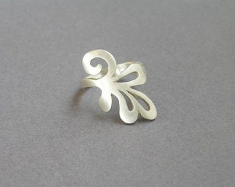 Sterling Silver Branch Ring - Swirling Leaf Ring