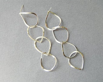 Dangle Silver Earrings - Long Drops Earrings - Sterling silver - Post Earrings