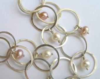 Dangle Silver Earrings with Pearls - Bubbles Earrings