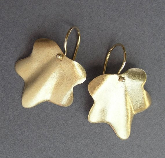 Gold Earrings - Fig Leaf Earrings - 14k Gold - Solid Gold