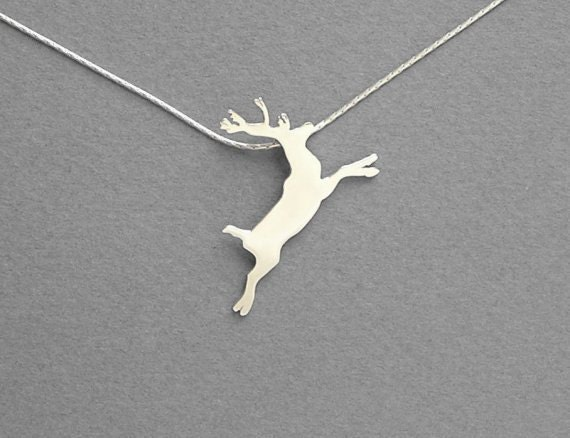 Reindeer Necklace Pendant - Silver Necklace - Hand Cut - Sterlings Silver - Christmas Gift