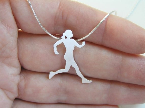 Runner Necklace - Running Woman Pendant - Sterling Silver - Sport Jewelry