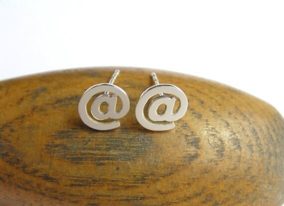 At Sign Earrings - Silver Stud Earrings - Post Earrings - Sterling Silver