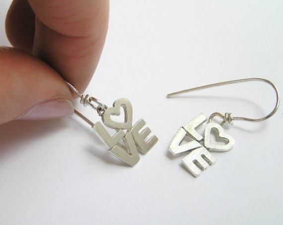 Love Earrings - Sterling Silver - Dangle Earrings - Letter Earrings - Hand Cut