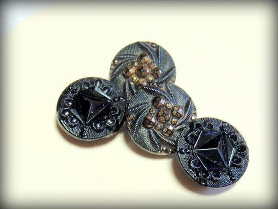 Black Glass Buttons, 4 Vintage Antique 11 mm Buttons