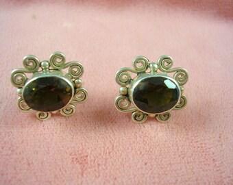 Vintage Designer Sajen Sterling Silver & Smoky Quartz Earrings 4Ctw 4.2grams