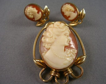 1940s Carved Shell Cameo Brooch/Pendant and Earrings Set Gold Filled Signed cM