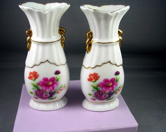 Vintage Vases - Pair - Porcelain with Flower Pattern and Gold Trim 5X2 inches