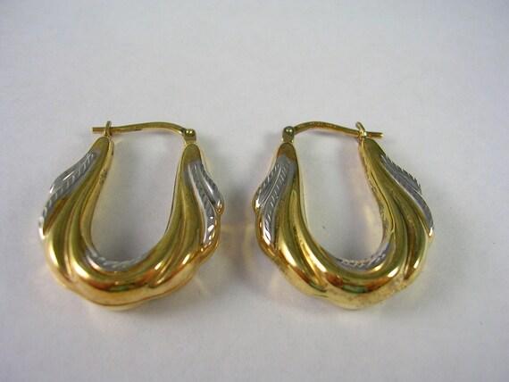 Two Tone Gold Over Sterling Silver Hoop Earrings - 1 in X 3/4 in 2.2gm