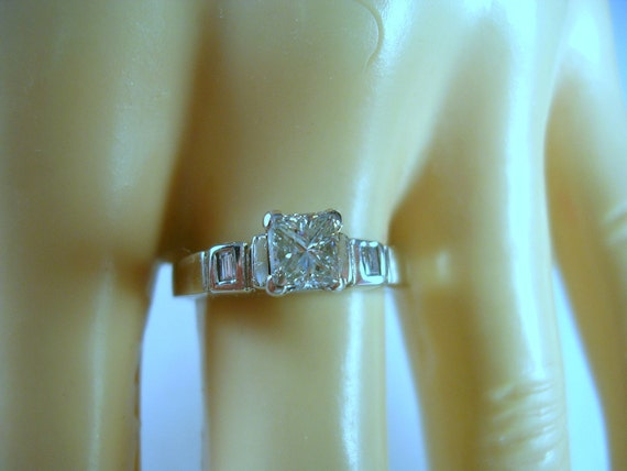 Reserved for R - Final Payment - Princess Diamond Engagement or Wedding Ring .55 Ctw with Baguette Diamonds Size 7.25 14K WG 3.6gm
