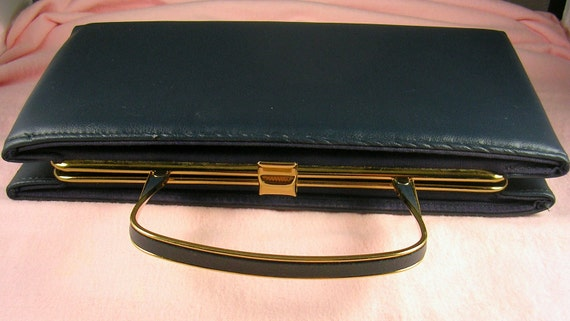 Purse 1950s Ande Convertible Leather Navy Blue Clutch Excellent Condition
