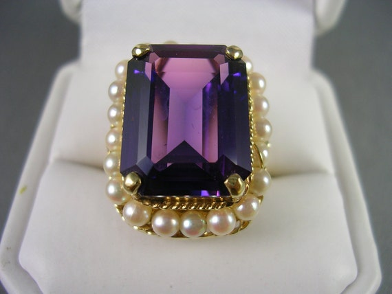 RESERVED for J - Estate Amethyst and Pearl Ring size 7.75 14K yellow gold 7.9gm February birthstone