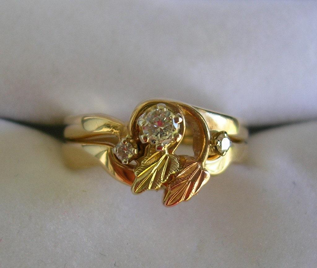 Sale Landstroms Diamond Black Hills Gold Diamond Wedding Set