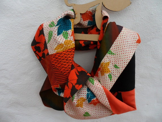 Handmade Kimono Silk Long Scarf, shades of  orange, black. FREE SHIPPING