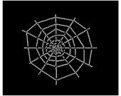 Rhinestone Spider Web - Halloween Iron On T Shirt Rhinestone Transfer 34013