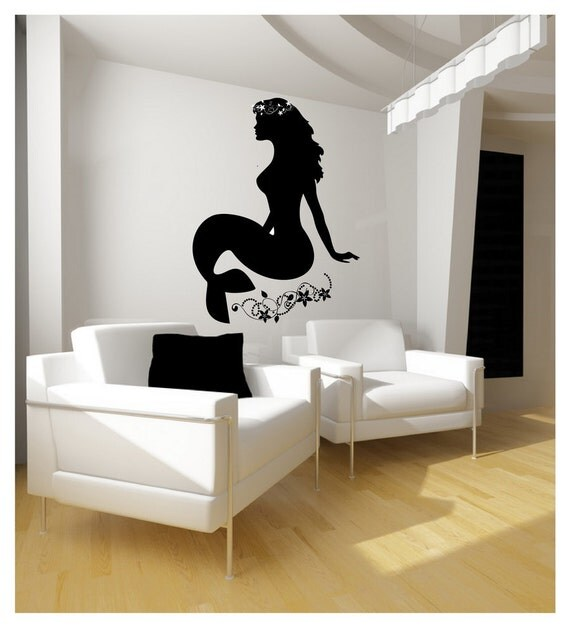 Mermaid Wall Decal | Nautical Decor | Girls Room Beach Decor | Mermaid With Flowers Vinyl Wall Graphic 22124