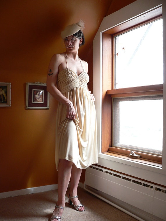 New Price - Cream White1970s Ruched Halter DISCO WEDDING DRESS