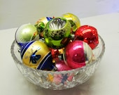 Vintage Christmas Balls - Ornaments - Delicate Glass - Bright Colors- Set of 10
