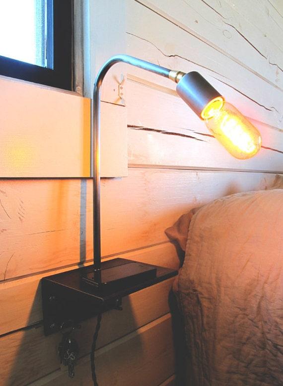 Custom order for Christopher Caquelin: Bedside lamp/shelf/key hook
