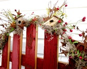 Huge SALE  8 dollars off  Hand Made Bird House Berry Garland