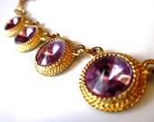 Vintage Gold Bracelet with Lavender Rhinestones - 1970s - Gold - Purple - Jewelry - Bracelet - Accessories