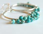 Large Hoop Earrings with Turquoise Hoop Earrings-turquoise chandelier earrings