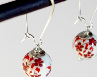 Asian Ceramic Red Flowers-Dangle Earrings