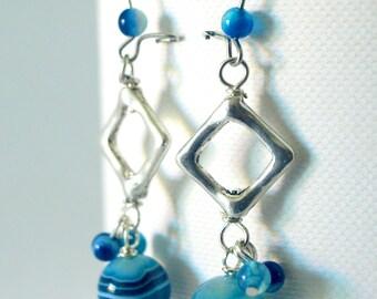 Large Dangle Geometric Earrings with Blue Agate Gems