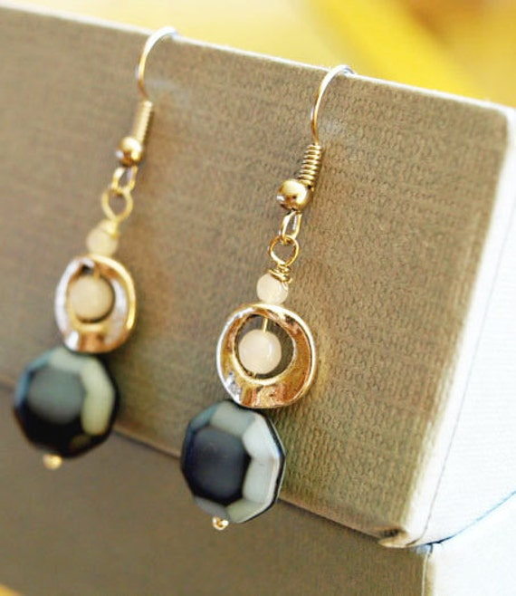 SALE - Silver dangle earrings with blue and glass