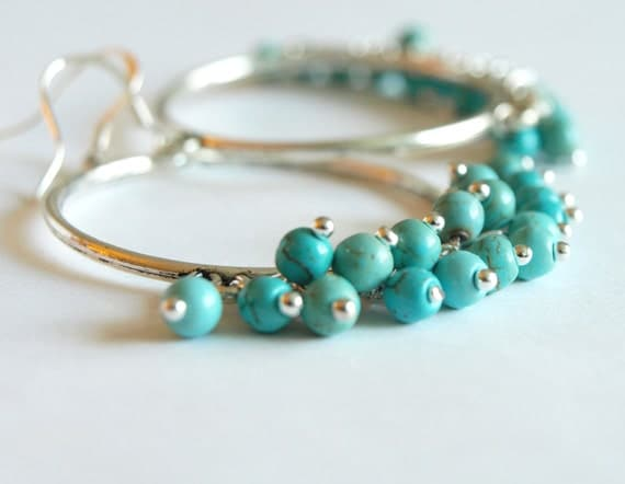 Large Hoop Earrings with Turquoise Hoop Earrings-turquoise chandelier earrings