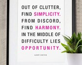 Simplicity, Harmony and Opportunity inspirational Poster