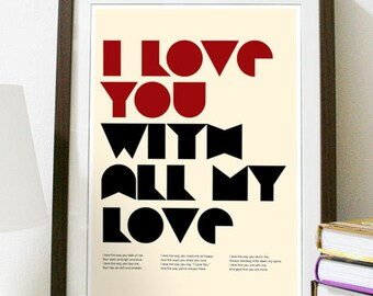 I Love You With All My Love Poster Print