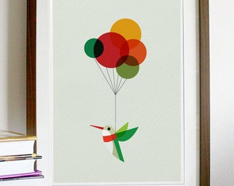 Hummingbird with Colourful Balloons Poster Print