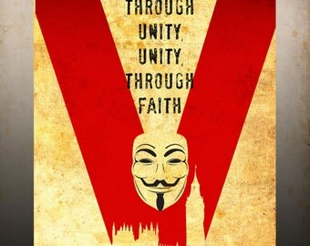 V for Vendetta Movie Poster Vintage Print